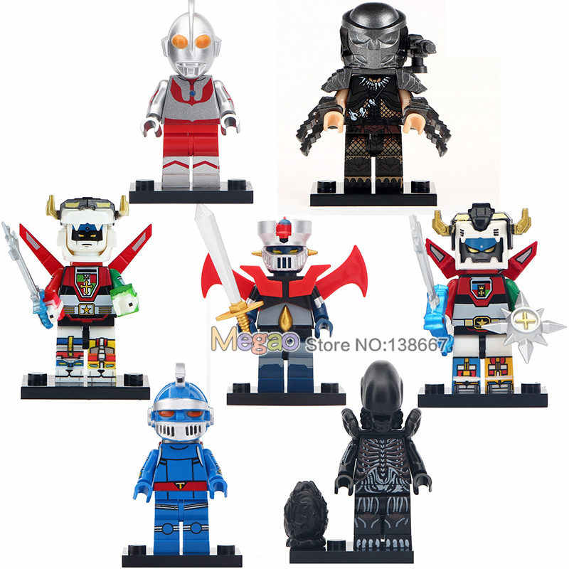 Single Beast King Golion Voltron Predator MAZINGER Z IRON MAN Ultraman Alien  Building Blocks Friends Toys Gifts