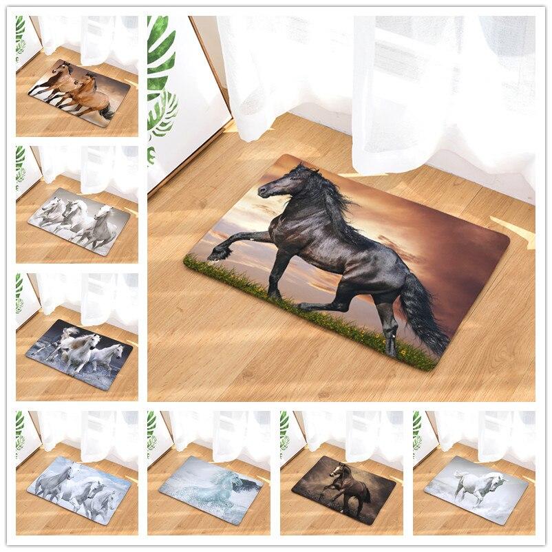 Novo Bem-vindo Esteiras 9 S tyles Cavalo Impressão Capachos Banheiro Cozinha de Casa Tapete Tapetes Sala de estar Anti-Slip tapete 40X60 50X80 cm