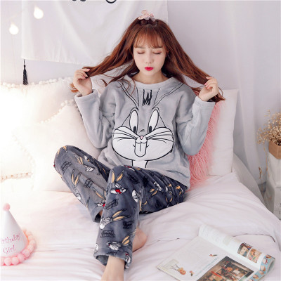 2017 Pyjamas Women Winter Pajama Ladies Flannel Animal Pajama Sets Female Sleepwear Warm Plus Size Coral Fleece Xmas gift