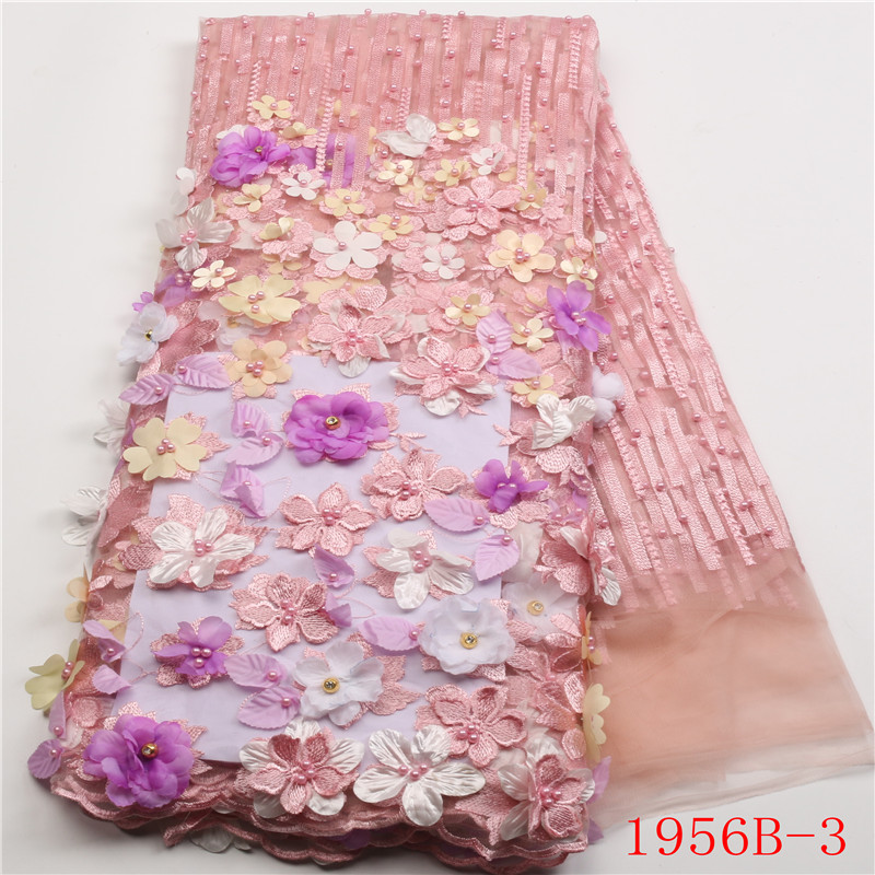Pink African Lace Fabric 2018 3D Flowers Beaded Tulle Lace Fabric High Quality Beautiful French Tulle Lace Fabric XZ1956B 2