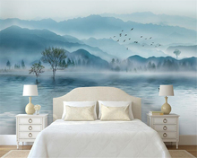 beibehang papel de parede Custom extravagant 3d wallpaper atmosphere water ink landscape new Chinese TV sofa background
