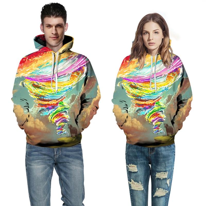2017 New Sweatshirts Men Women Hooded Hoodies Sky Multiclolor Tornado 3d Print Pullovers Hoody Outerwear Galaxy Hoodie Men