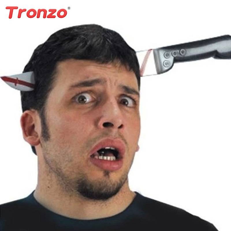 Tronzo Halloween Decoration Fake Knife Pass Through Head Scary Prank Toy Bloody Horror Costume Props April Fools Day Decor