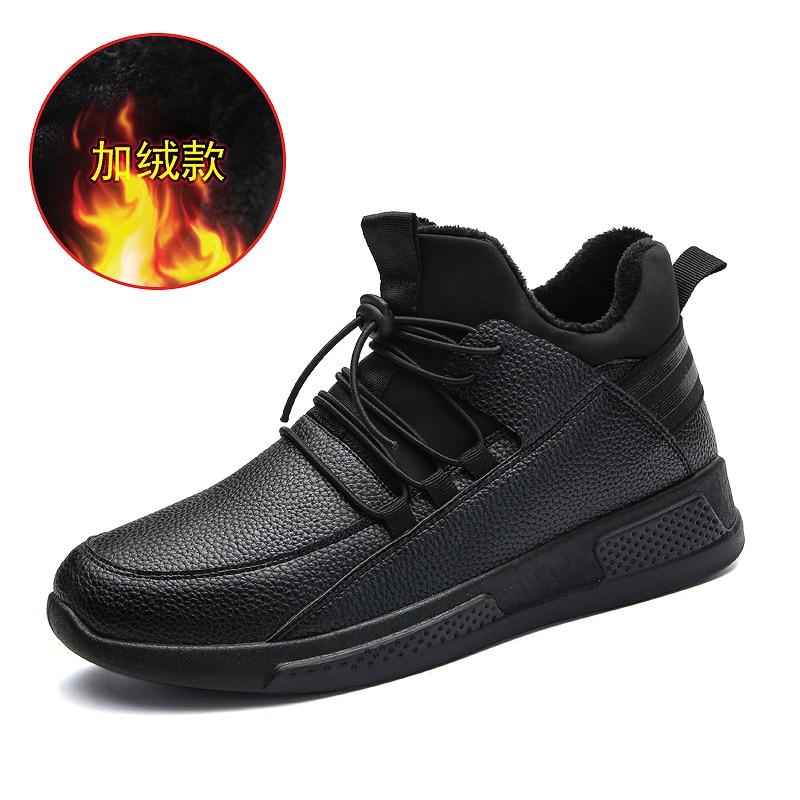 Thestron Men Shoes 2018 Winter Fur Warm Male Leather Black Men Casual Shoes Rubber Sole Footwear Walking Fur Anti Slip Sneakers