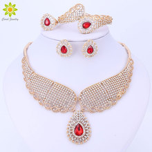 Dubai Crystal Jewelry Set Luxury Gold ColorNigerian Wedding African Beads Crystal Necklace Earrings Jewellery Set
