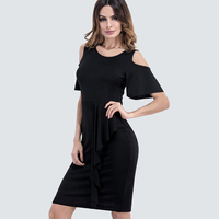 New Summer Elegant Round Neck Bodycon Black Dress Women Casual Flare Sleeve Ruffles Stylish Party Dress