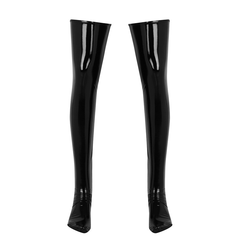 1 Pair Mens Sexy Anti-skid Soft Elasticity Wetlook Patent Leather Thigh High Footed Stockings Clubwear Costume Cosplay Socks