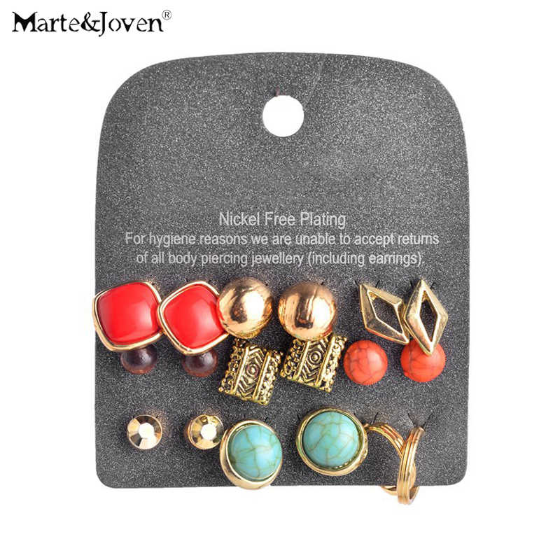 Marte&Joven New Fashion Green Stone Mixed Stud Earrings Set Pairs for Women Hot Geometric Alloy Gold Earring Sets 9 Pairs