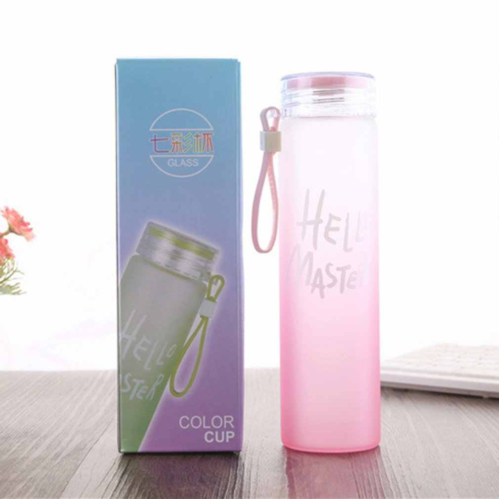 Glass Mug Portable Travel Mugs Bottle Tumbler Coffee Tea Cups Colorful Matte Gradient Thermoses Hand Cup