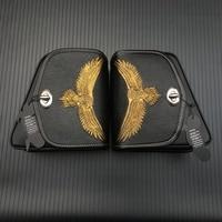 For Honda Yamaha Suzuki Harley Sportster XL 883 Black PU Leather Saddle Bag Motorcycle Luggage Eagle Left+Right Side Saddle Bag