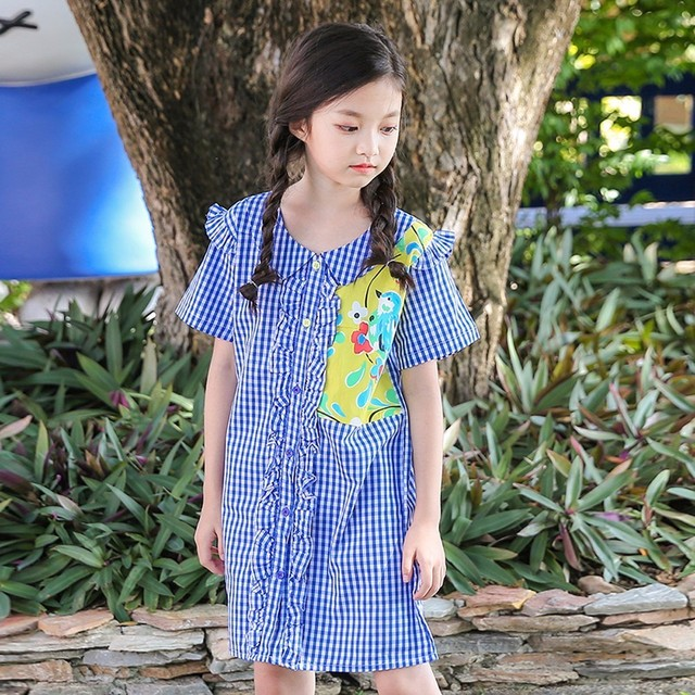 c06e1a6f16f6 summer girls clothes school casual big girls dresses knee length cotton preppy  summer dress 2018 kids baby shirts dress clothing
