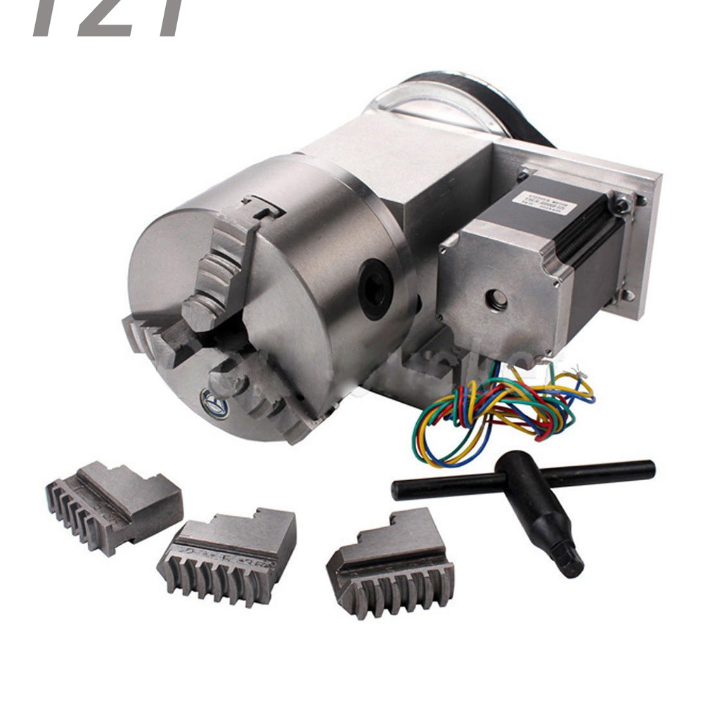 2018 CNC 4th Axis Hollow Shaft Rotary Table Router Rotational Axis 3 Jaw diameter 100mm Chuck