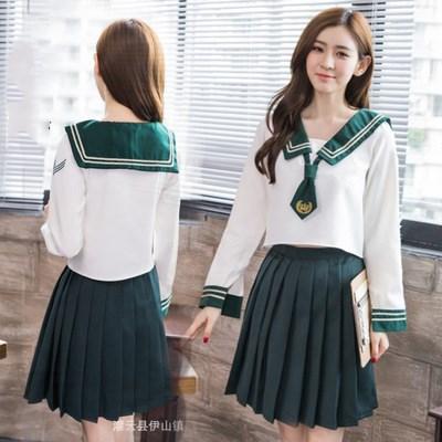 New Japanese School Girl Uniform New Summer Short/long Sleeved Uniforms Women Girls Armygreen Sailors Suit Pleated Skirt Sets