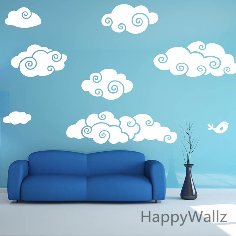 Clouds Wall Sticker Cartoon Clouds Baby Nursery Wall Decal Diy