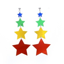 Acrylic Stars Earrings Multi Color Alloy Long Drop Women Fashion Jewelry Brincos