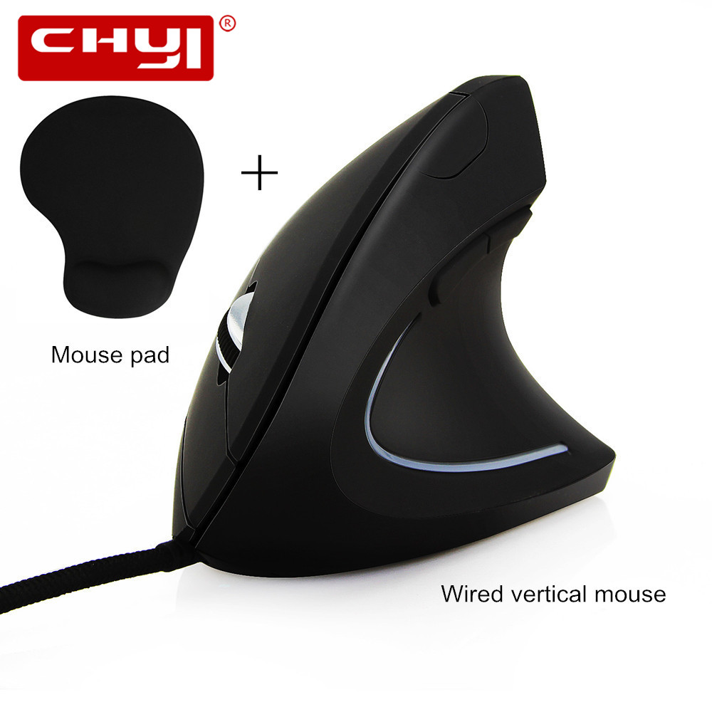 USB Wired Ergonomic Mouse 6D Vertical Optical Mouse Computer Mice 3200 DPI Adjustable Gaming Mouse Mause with Mouse Pad Kit
