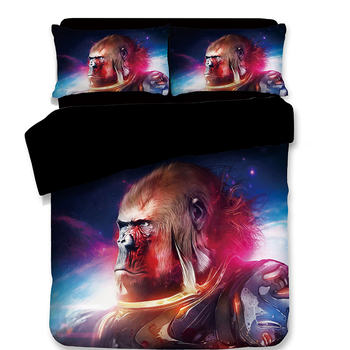 Chimpanzee Bedding Sets 3pcs soft black 3D bedclothes Chromatic duvet cover quilt cover pillow cases Home textiles sell well