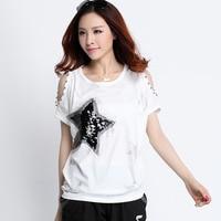 Tshirt Women T Shirt Tee Shirt Femme Cotton T Shirt 2016 Camisetas Mujer Sexy Sequin Off