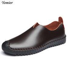 Yomior Мужские кожаные туфли Новинка 2017 года Повседневная дизайнерская Обувь слипоны модные драйверы Комфорт Мокасины теплые Мокасины