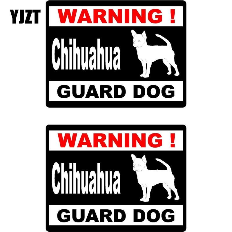 YJZT 15*11.5cm 2x Cartoon WARNING Chihuahua Guard Dog Retro-reflective Decals Car Window Sticker C1-8147