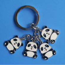 Hot New Fashion Gift Mooie 4 Enamel Chinese Panda Sleutelhanger Leuke Panda Sleutelhanger Sleutelhanger Ring Vrouwen Gift1pcs/Lot(China)