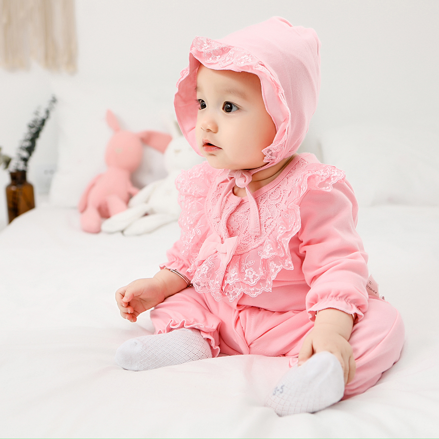 Spring Autumn Newborn Infant Baby Girl   Romper   Lace Floral Toddler   Rompers   Suits Jumpsuit Long Sleepsuit Baby Clothes With Hood