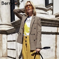 BerryGo Fashion double breasted plaid blazer Long sleeve slim fit office ladies blazer 2018 Casual autumn jacket women blazers