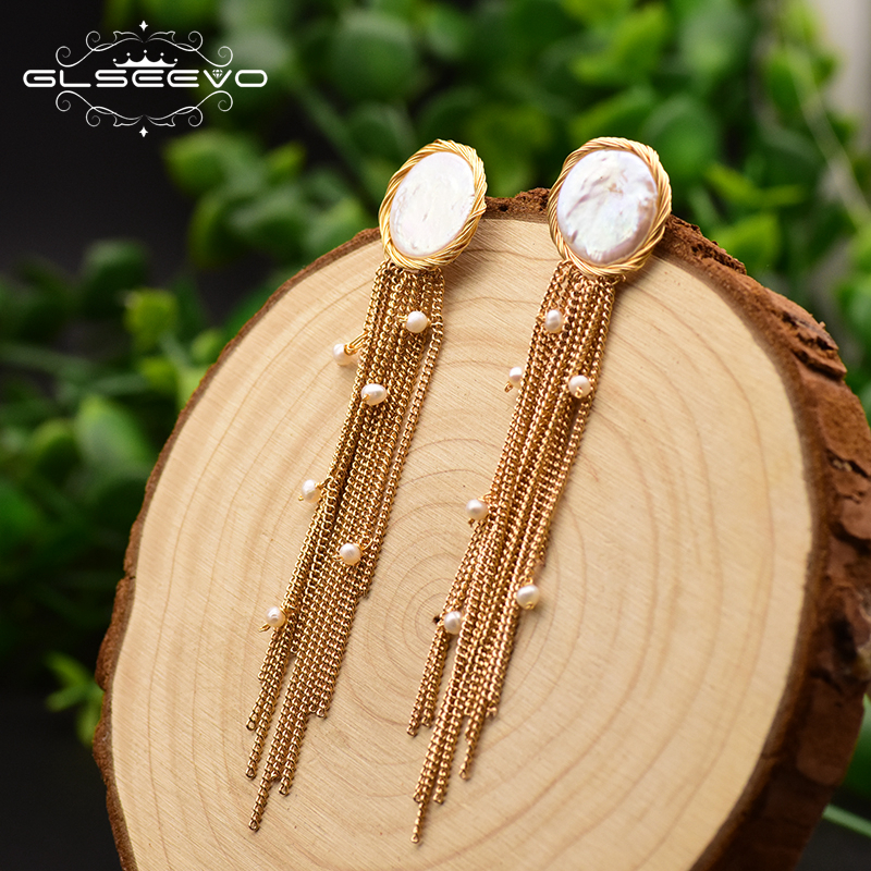 GLSEEVO Handmade Fresh Water Baroque Flat Pearl Tassel Stud Earrinhgs For Women Wife Party Gift Earrings Fine Jewellery  GE0656GLSEEVO Handmade Fresh Water Baroque Flat Pearl Tassel Stud Earrinhgs For Women Wife Party Gift Earrings Fine Jewellery  GE0656
