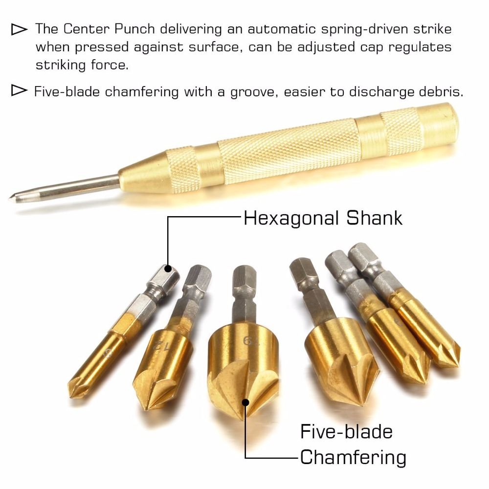 Купить с кэшбэком 1Pc Brass Automatic Punch + 6Pcs Hex Shank Five-blade Chamfering Drill Bit High Carbon   Steel Titanium Plated for Wood DIY