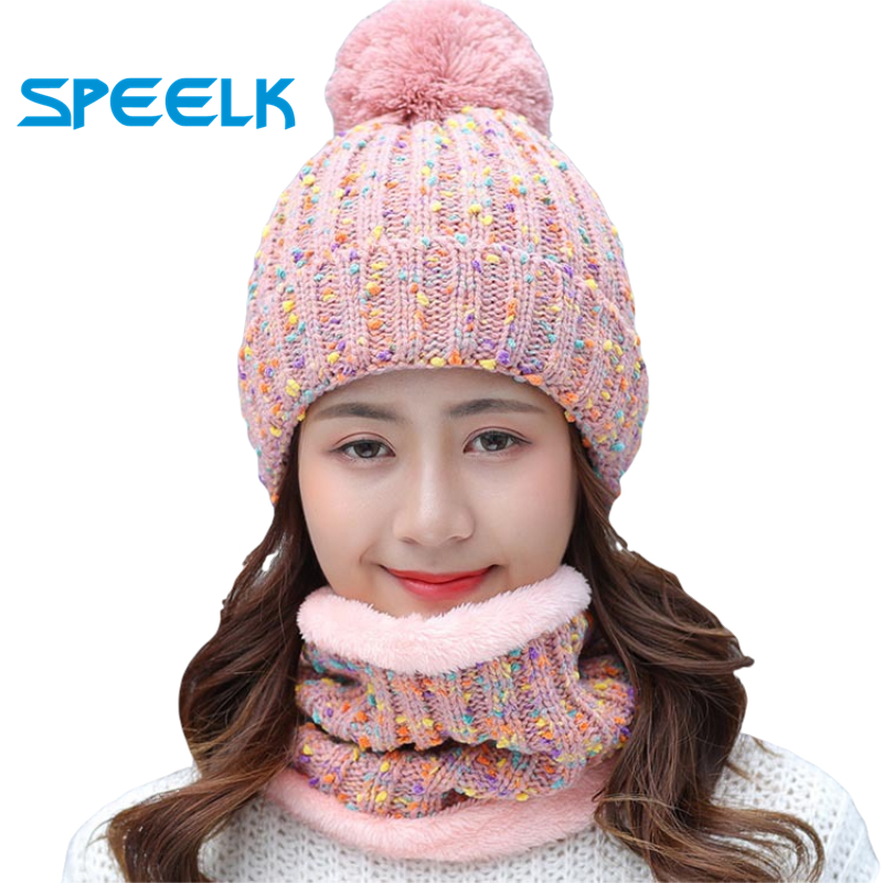Autumn Winter knitted Beanies Hat Women Velvet Thick Warm Wool Skullies Cap Bib Female Bonnet Beanie Caps Windproof Riding Sets
