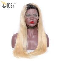 Doozy Ombre Цвет 1b/613 предварительно сорвал натуральные волосы парики блондинка Реми прямо бразильский волосы парик