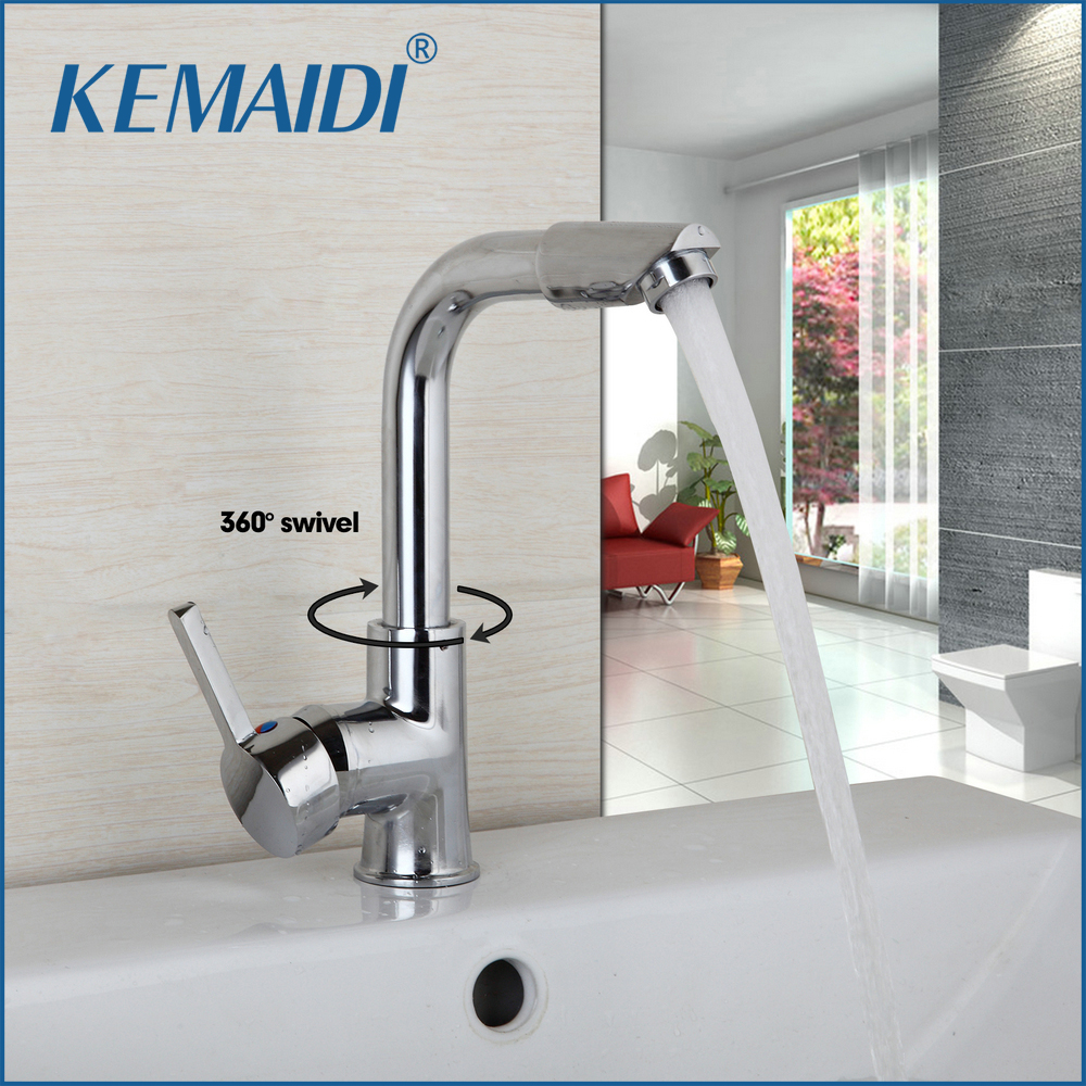 KEMAIDI Hot Selling Kitchen Faucet Spout Deck Mounted Single Handle Hole Vessel Mixer Hot & Cold Tap 360 Swivel