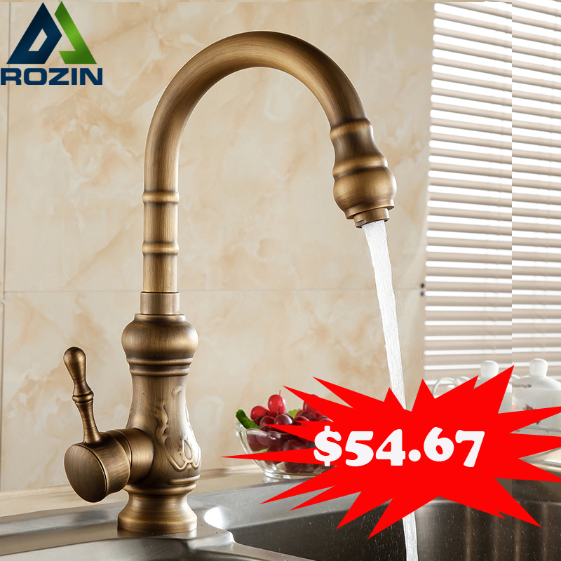 Promotions Antique Brass Kitchen Faucet Single Lever Hot and Cold Water Tap Swivel Spout Vanity Sink Mixer Tap golden brass kitchen faucet dual handles vessel sink mixer tap swivel spout w pure water tap