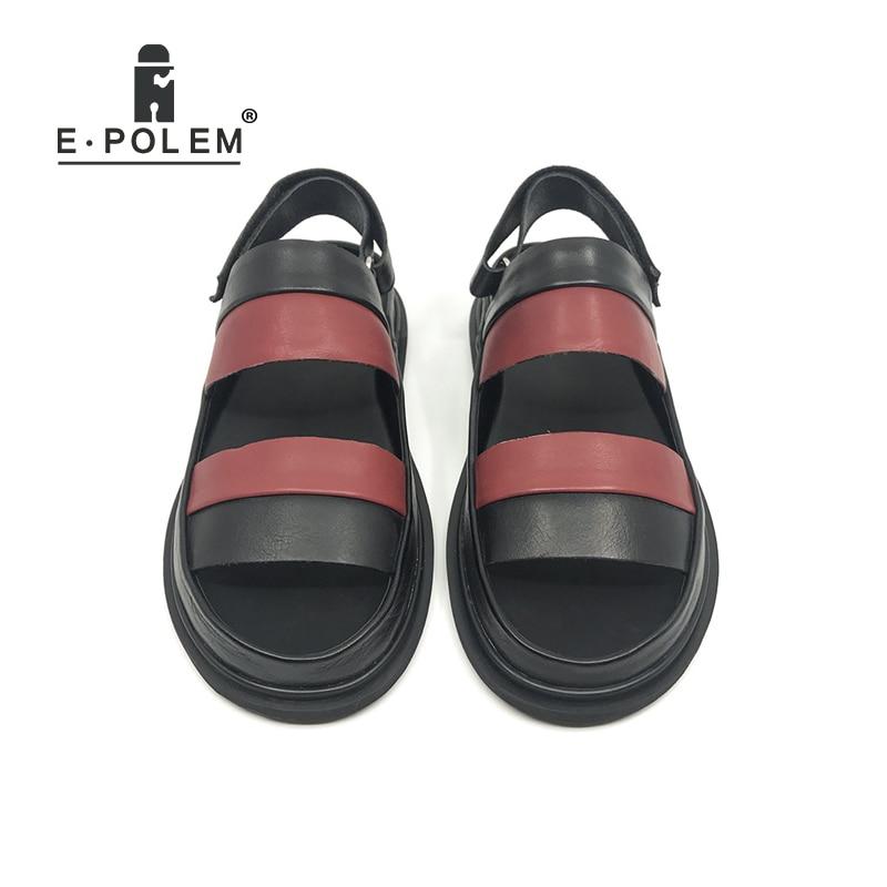 Fashion Summer Men Genuine Leather Sandals Rome Gladiator Male Casual Platform Sandal Shoes Black/Red High Quality 2018