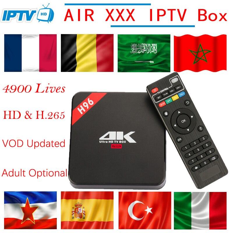 H96 Europe adulte IPTV Box 4 K Android TV Box avec 4900 VOD en direct France arabe belgique nordique néerlandais espagne italie PayTV décodeur