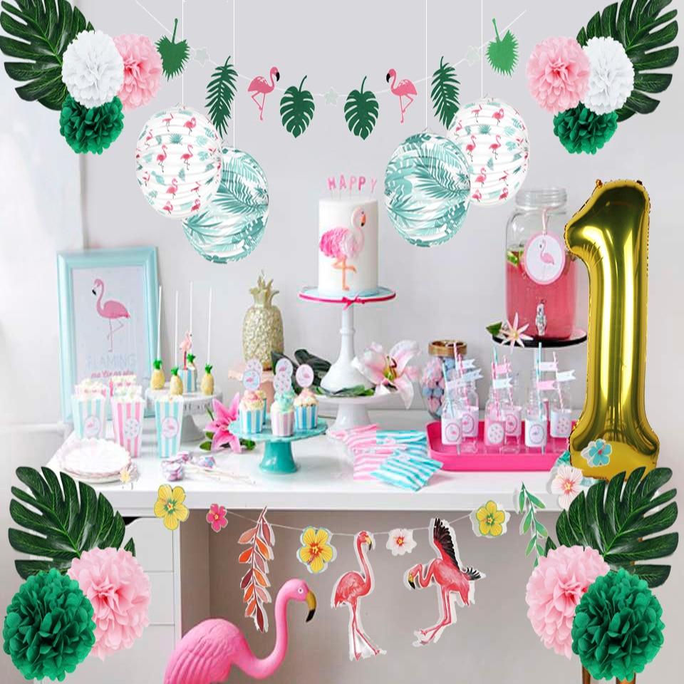 Summer Flamingo 1st Birthday Party Decoration Set  Tropical Leaves Lantern One Year Gold Foil Balloon Hawaiian Luau Jungle Decor