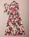 Освобождает доставки 2016 розы печать длинные рукава женщины платье из шелка блестки длинные платья женщин бренд же стиль Vestidos 112903