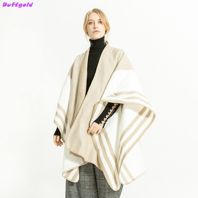 New Winter Street Scarfs Fashion Long Big Large Cashmere Scarf Shawl Striped Warm Shawl and Cape Pashmina Wrap Women Duftgold