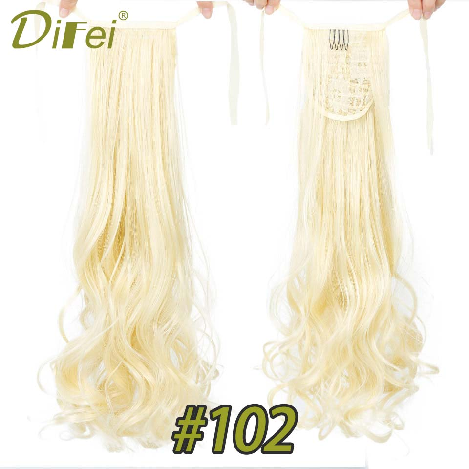 Synthetic Hair Long Curly Ponytail Drawstring Clip In Ponytail Hair Extensions High Temperatuer Fiber Hair DIFEI