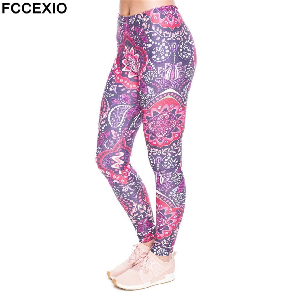 FCCEXIO New Halloween Cosplay Women Leggings Oriental Pink Flowers Print Leggins Fitness Legging Sexy Slim High Waist Woman Pant