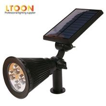 [LTOON]4 LED Spotlight Lawn Lamp Outdoor Garden Solar Panel Power Adjustable Wall Flood Light 7 Colour in 1 Landscape Lighting