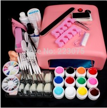 PRO New Pro Nail Art 36W UV GEL Pink Lamp & 12 Color UV Gel Nail Art Tool Kits Sets