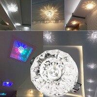 3 W 5 W Embeded LED Moderna Iluminação Da Lâmpada de Cristal Do Teto Luminária Decoração Da Casa de Aço Inoxidável + Cristal
