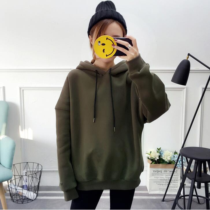 Sweatshirt Fleece Warm Woman Clothes Harajuku Letters Hoodies Long Sleeve Hooded Tracksuit Female Solid Color Green Coat M-XXL