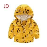 In The Autumn Of 2017 New Kids Coat Boy Girl Cartoon Penguin Long Sleeve Hooded Jacket