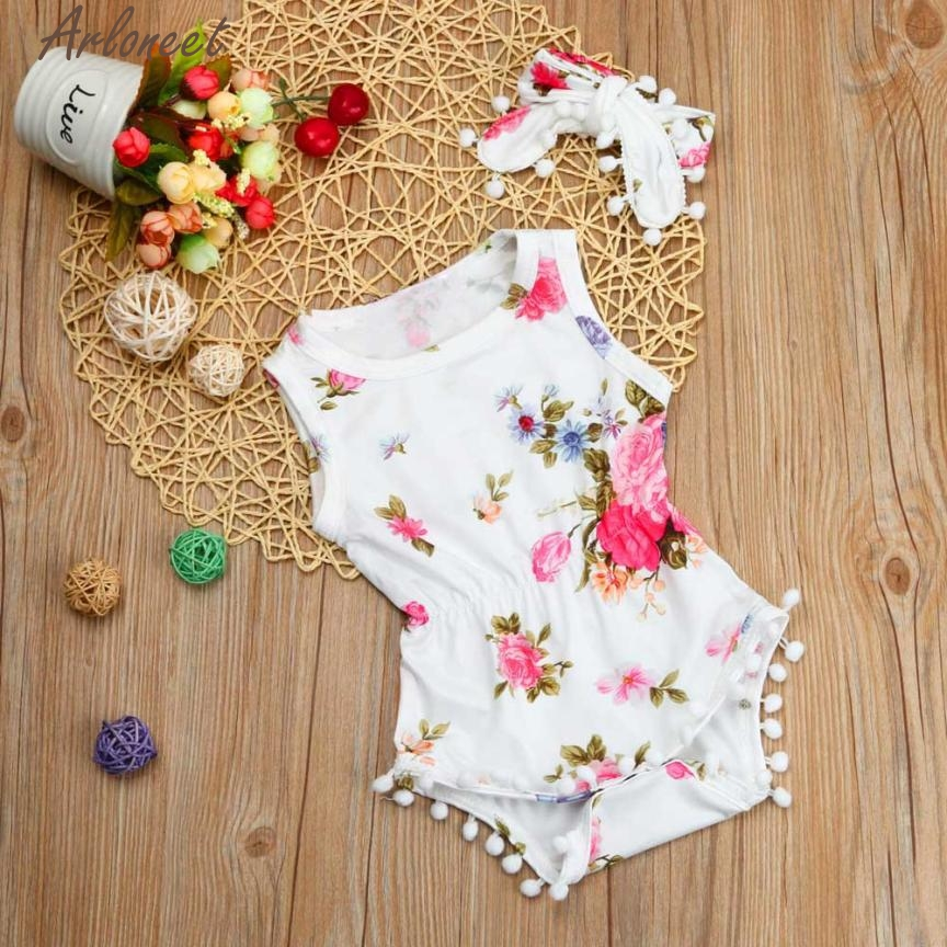 ARLONEET Baby Clothing Infant Kids Baby Girls Sleeveless Floral Romper+Headband 2PCS Set QF20 Dropshipping