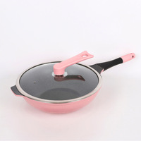 Non coated smokeless non stick wok kitchen utensils cast iron pot induction cooker gas stove universal wok 028