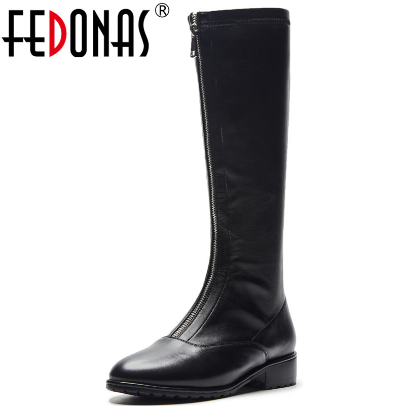 FEDONAS New Hot Women Knee High Motorcycle Boots High Heels Long Warm Autumn Winter Shoes Woman Sexy Punk Party Martin Boots fedonas new warm autumn winter snow shoes woman high heels zipper short martin boots retro punk motorcycle boots 2019 new shoes