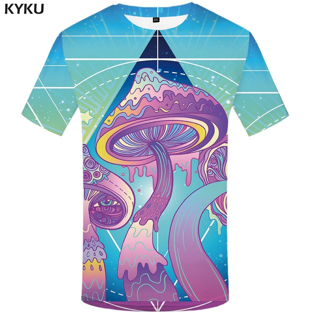 KYKU Brand Mushroom T Shirt Men Colorful Printed Tshirt Harajuku Cool Sea Funny T Shirts Anime Clothes Hip Hop Streetwear