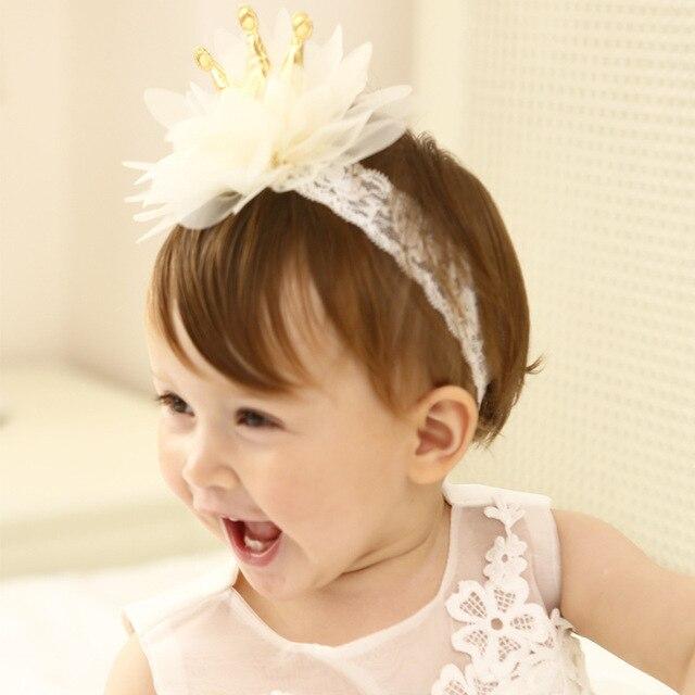 2018 New Beige Crown Flowers Baby Hairbands Princess Girls Headwear